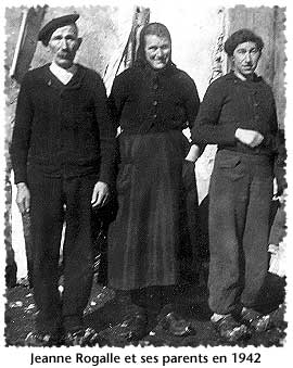 Jeanne Rogalle and her parents in 1942